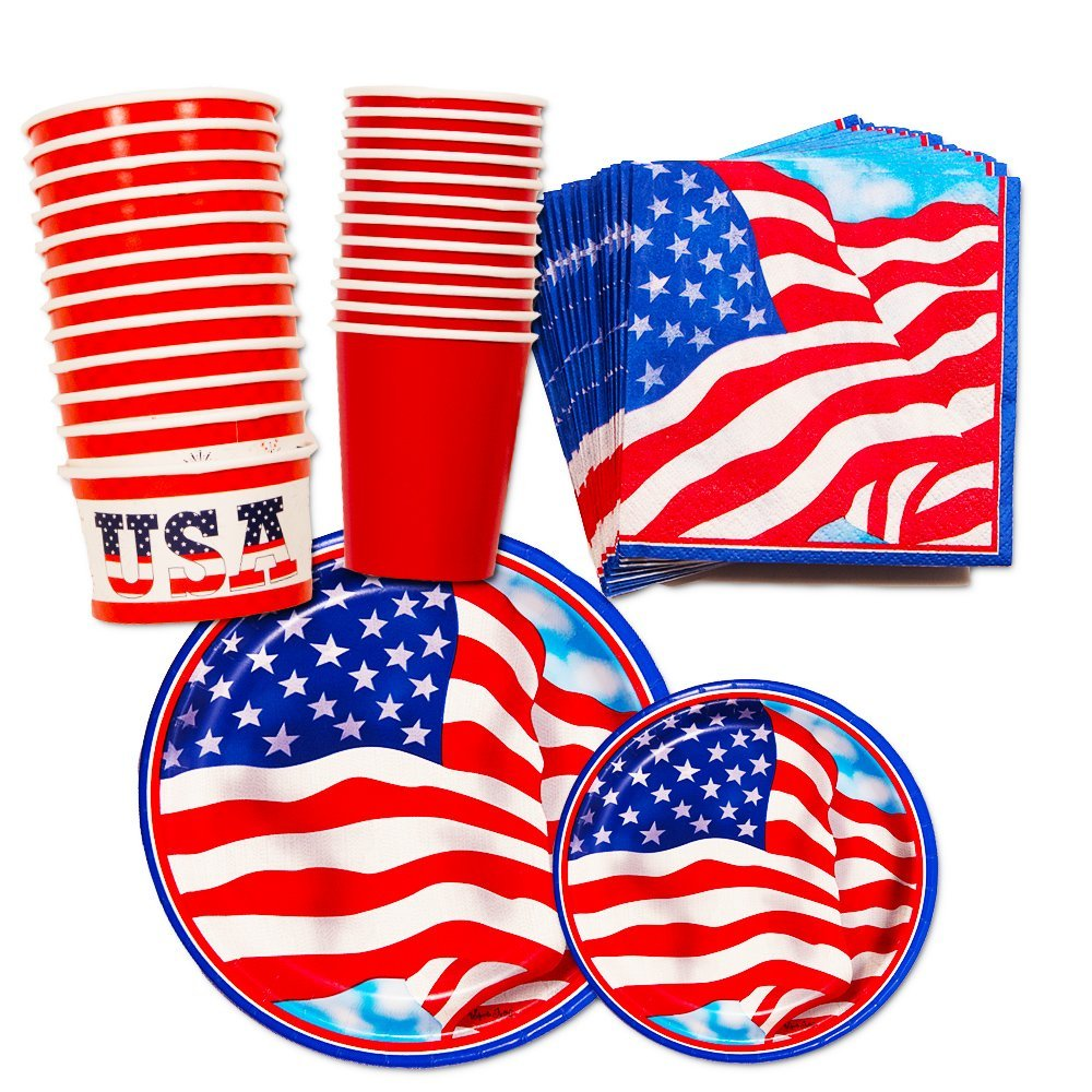 4th of July Party Supplies Decorations Set (Over 50 Pieces) -- Patriotic Plates, Cups, Napkins and Decorations (American Flag Design)