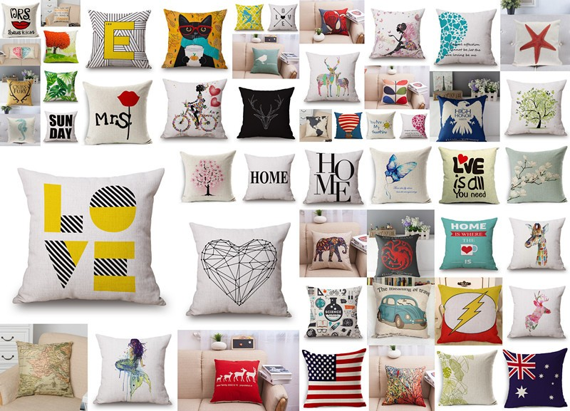 M-0001 China Wholesale Latest Design Cotton Linen Home Decorative Cushion Pillow Cover
