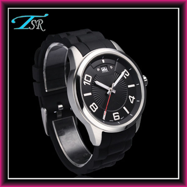 2013 Cheap wrist watch nickle free silicone material band alloy case with date