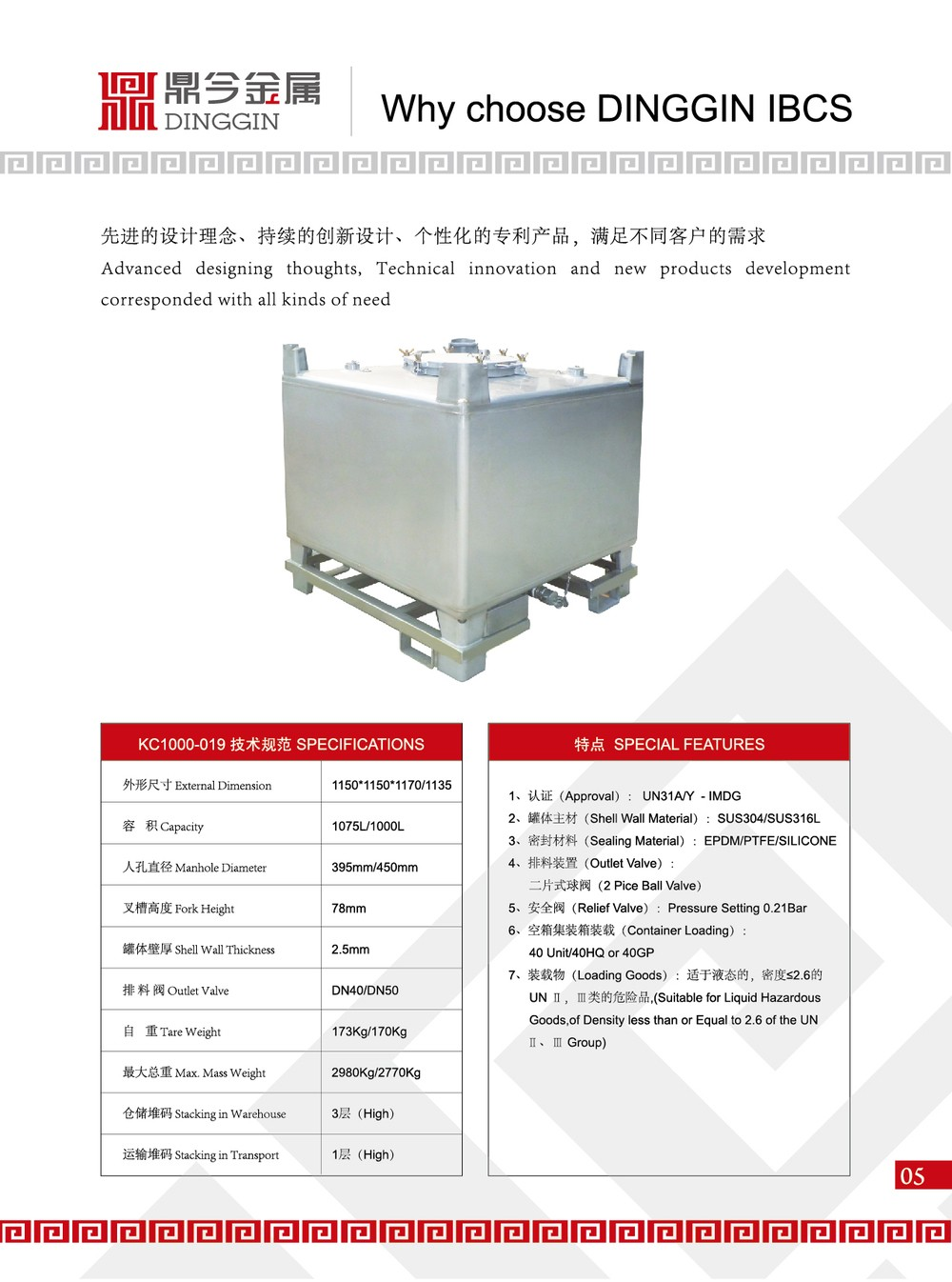 Ss Ibc Container For Liquid And Powder /chemical Tank