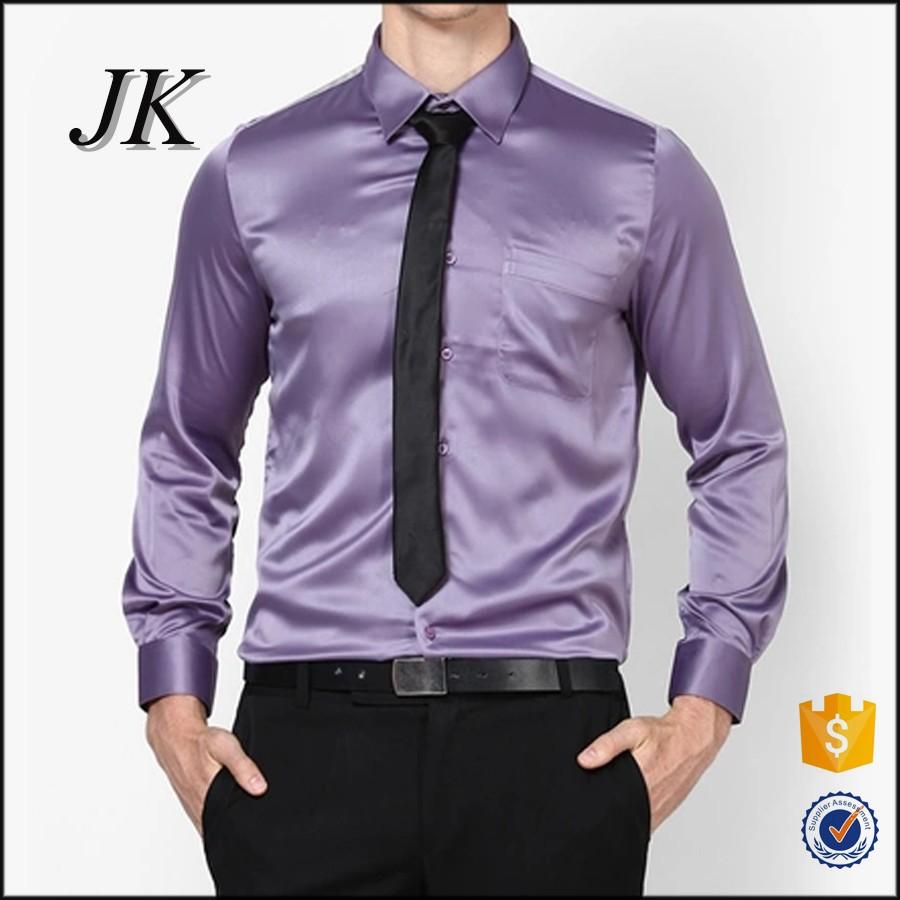 Custom Mens Long Sleeve Shiny Silk Satin Purple Party Wear Dress