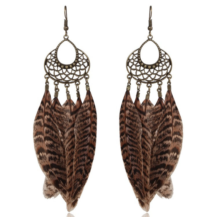XY-045 Ladies Old Model Vintage Feather Earrings Old fashion Ethnic Tribal Earrings