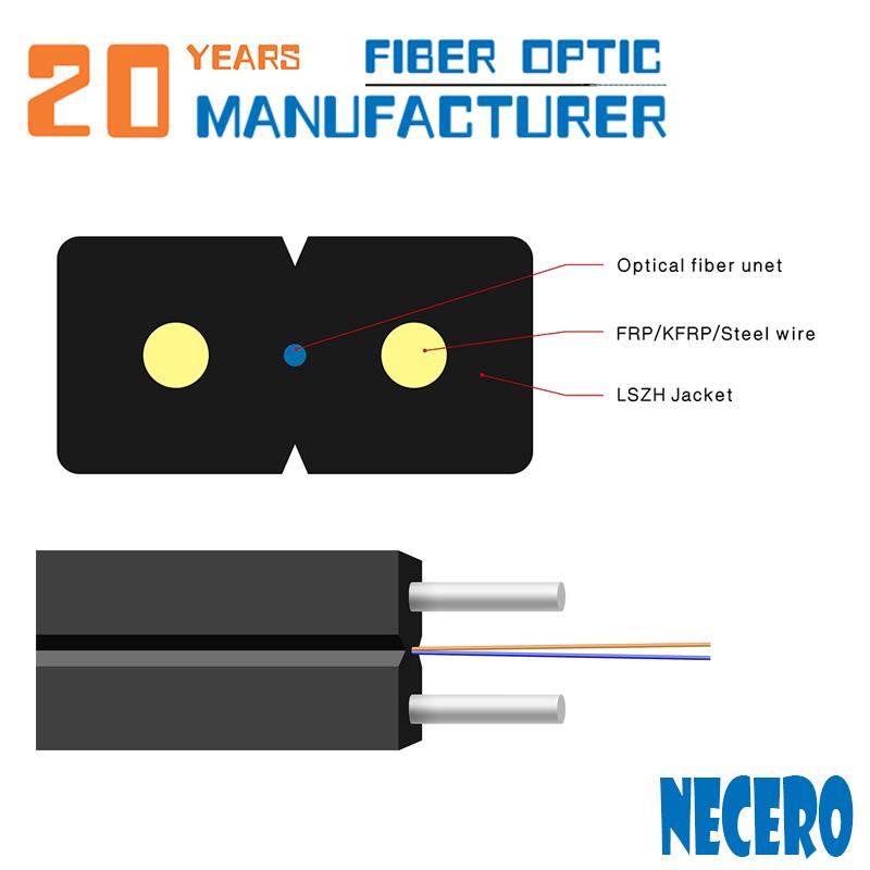2 core G657A1 ftth cable de fibra con messenger de GJYXCH