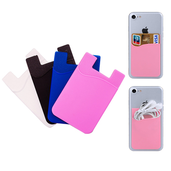 Silicone 3M Adhesive Stick-on Card Holder Pouch Wallet Phone Case Pocket for Most of Smartphones