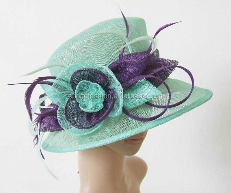 Elegant ladies sinamay hat trimming with sinamay flowers and feathers