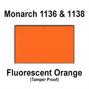 112,000 Monarch 1136/1138 compatible Fluorescent Orange General Purpose Labels to fit the Monarch 1136, Monarch 1138 Price Guns. Full Case + includes 8 ink rollers.