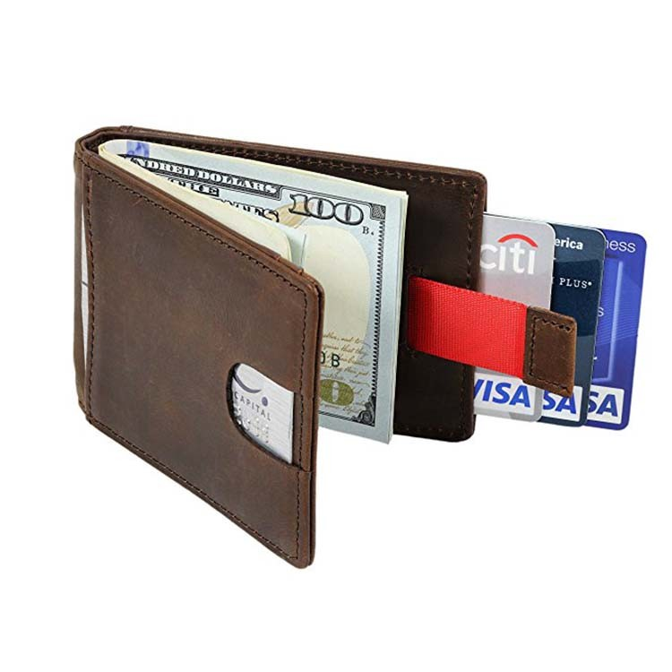 Mens Slim Thin Genuine Leather Bifold Id Wallet Money Credit Card Holder Window