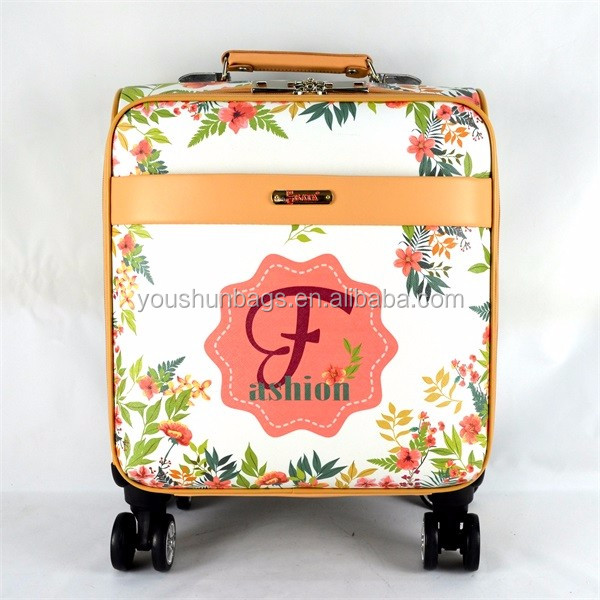 Small size Beautiful CMYK PU leather printing trolley luggages for ladies