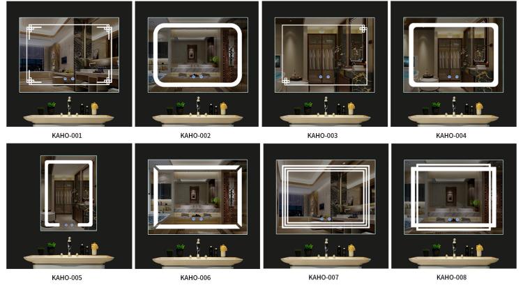 デザイン大美容浴室ラウンド Led ライト 12v マジック Bluetooth バニティミラーと棚