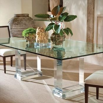Clair Acrylique Table A Manger Piedestal Cristal Transparent Lucite Plexiglas