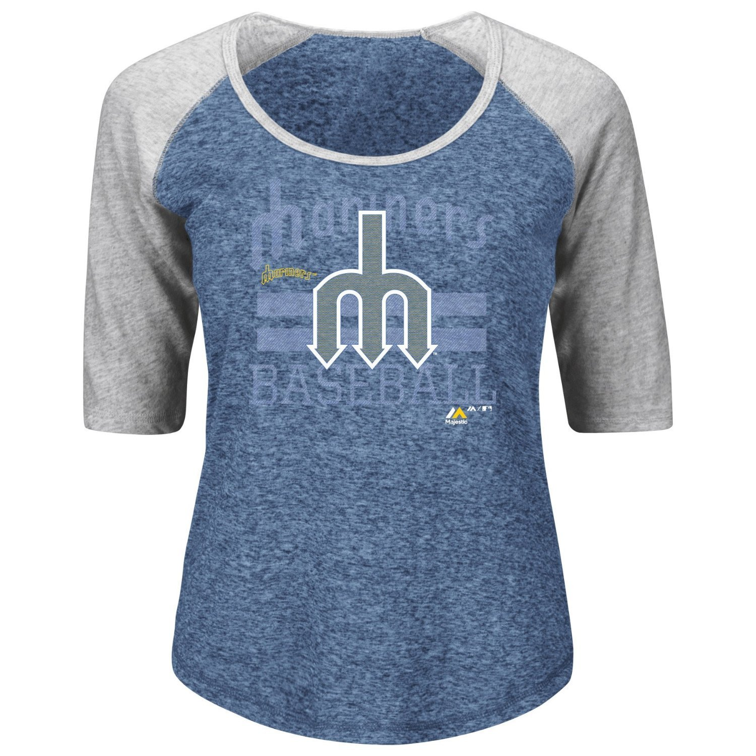 Majestic Women's MLB Cooperstown All In For The Win Raglan Tee (Large, Seattle Mariners)