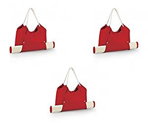 Picnic Time Cabo Beach Tote & Mat - Red, Set of 3