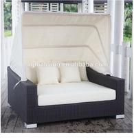 2017 Good quality new rattan outdoor day bed lounger furniture with canopy