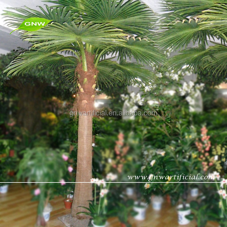 GNW APM035 Artificial Plastic Fan Shape Green leaf Palm Trees for sale used in outdoor decorations