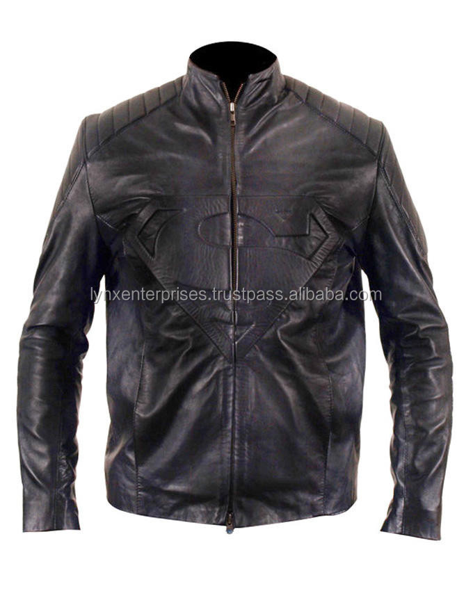 Superman Jacket, Smallville Black Genuine Leather Jacket, Superman Embossed Leather Jacket