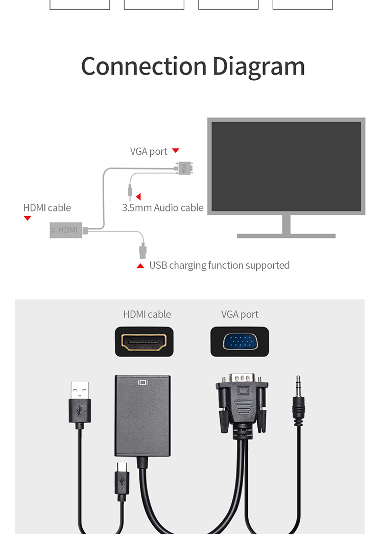 Factory Price Vga Male To Hdmi Female Converter 3 5mm Audio Cable Usb Charging Vga To Hdmi Adapter Buy Vga To Hdmi Adapter Vga To Hdmi Converter Vga To Hdmi With Audio Cable Product