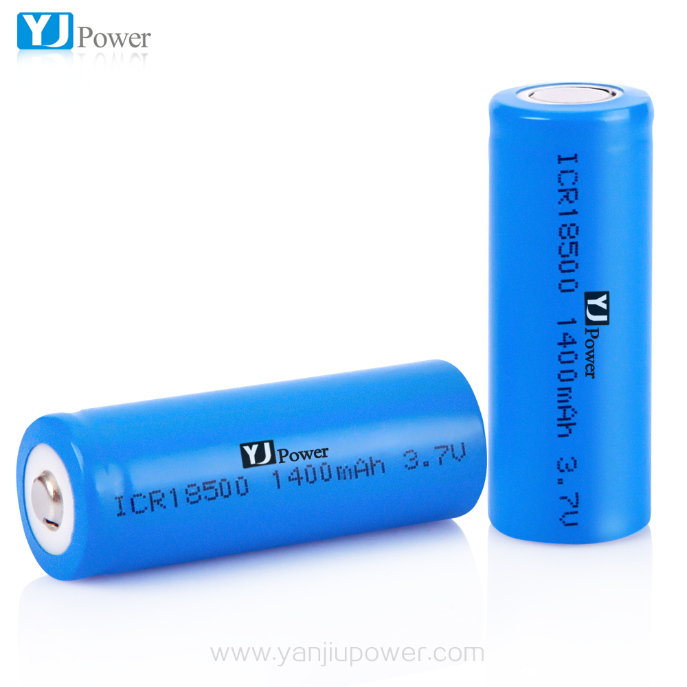 18500 li ion battery cell 3.7V 1400mAh / Flat top and high top external cell