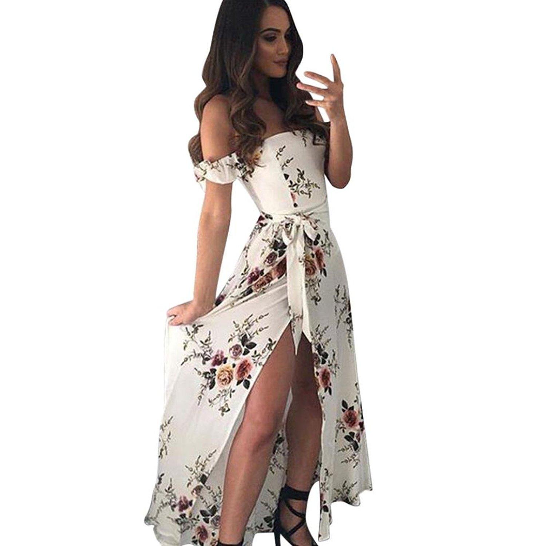 58e05854610ca Get Quotations · Qisc Womens Dress Women Summer Dress, Floral Off Shoulder Long  Maxi High Waisted Slit Split