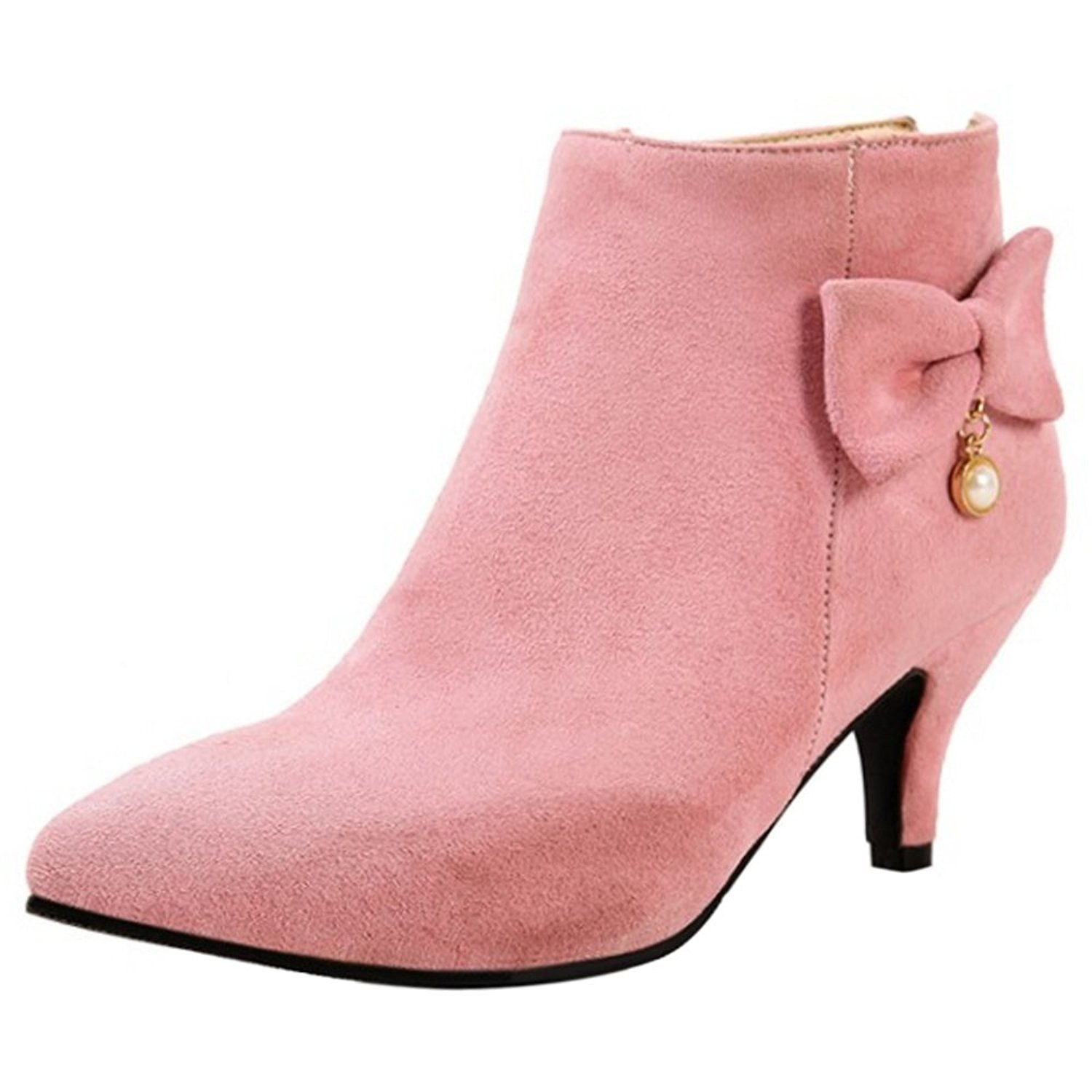 cef967bfe57 Get Quotations · RAZAMAZA Women Elegant Bowknot Pointed Toe Kitten Heels  Ankle Dress Booties Shoes