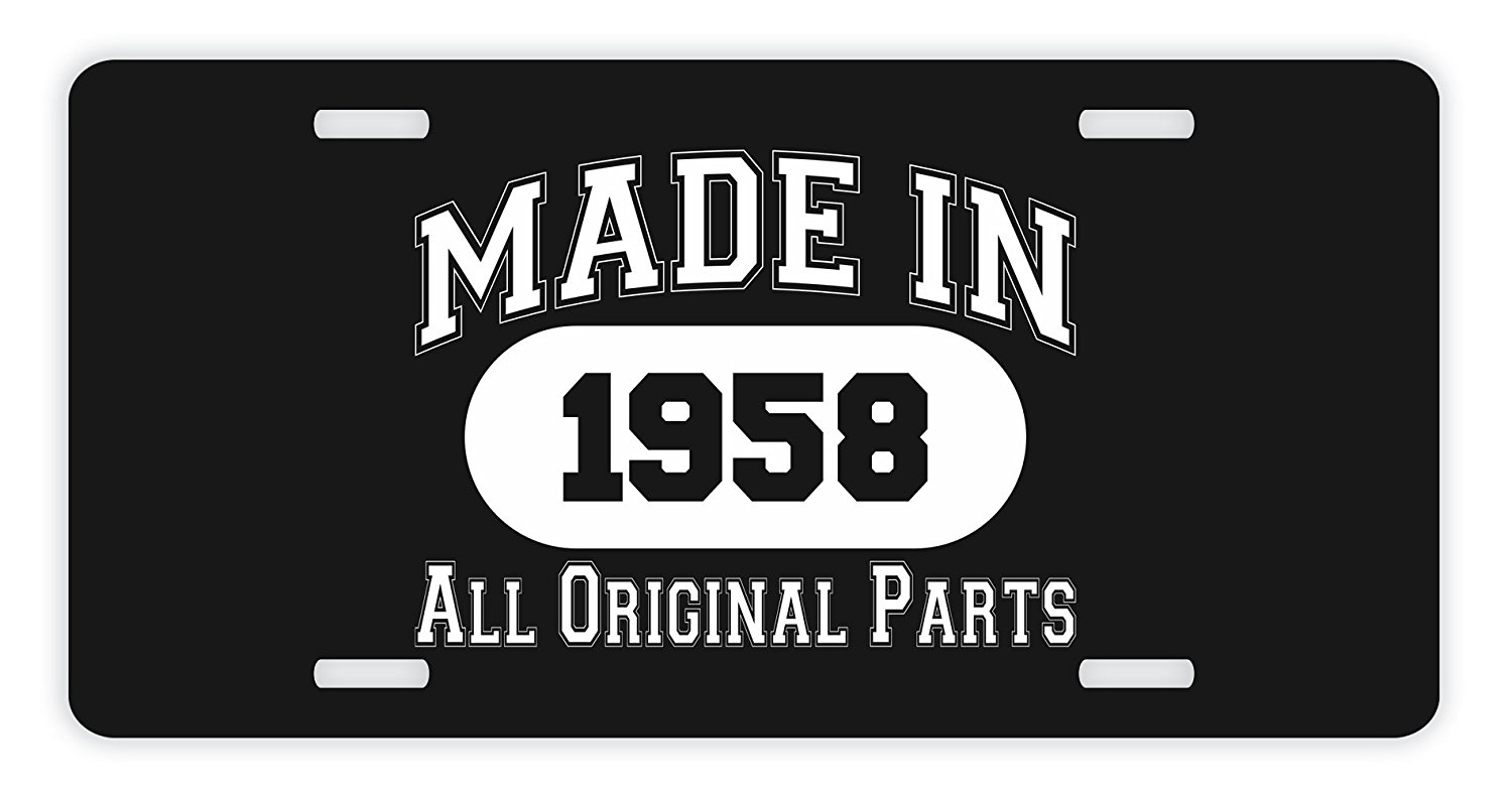 60th Birthday Gifts Made 1958 All Original Parts Funny For Dad Novelty License
