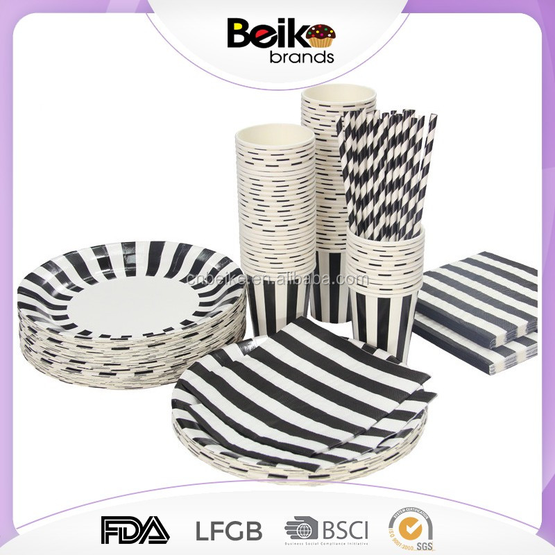 Birthday party set theme party supplies black white stripe paper drinking straw cups disposable party plates