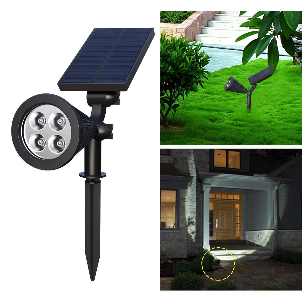 Solar Spotlights, Holan 4-LED Solar Landscape Lights 180 ° Adjustable Waterproof Outdoor Security Lighting 2-in-1 Wall Lights Auto On/Off for Backyard Driveway Patio Gardens Lawn Pool (Pack of 1)