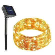 Solar Powered String Lights150 LED 8 Modi 17 mt Kupfer Draht String Lichter, Auto On Off, Wasserdicht