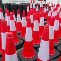 1000mm reflective traffic cone PE traffic cone road safety cone with reflective tape used on the crossing of road ways
