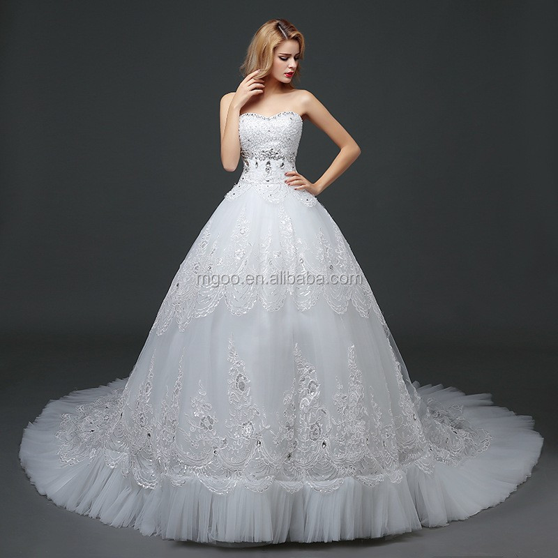 Mgoo High Quality Empire Hand Work Tail Wedding Dress Korea Style ...