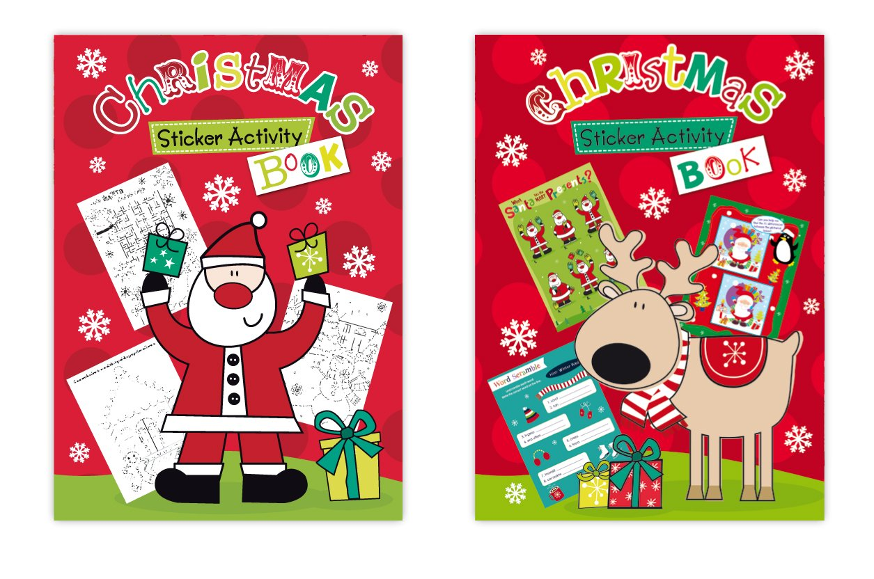 get quotations christmas super sticker activity book set of 2 xmas activity books filled with fun activities - Cheap Places To Go For Christmas