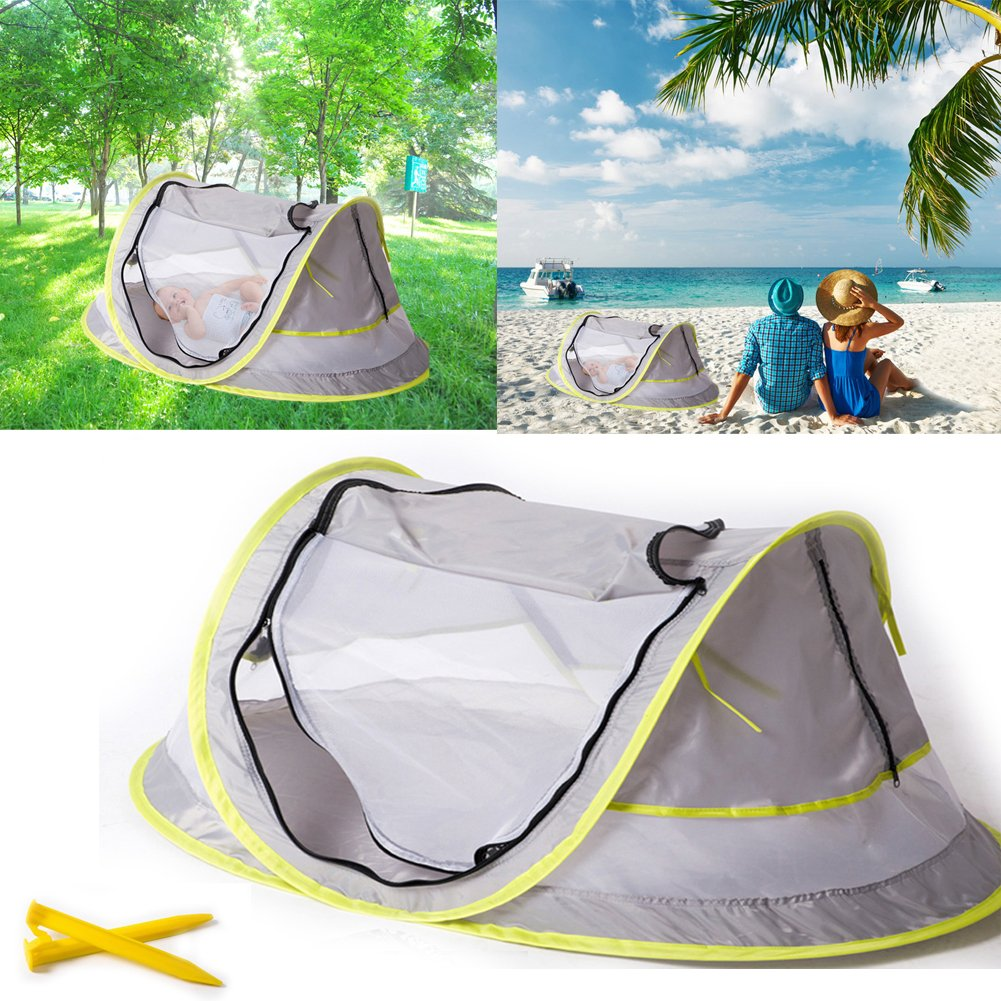 Baby Travel Tent UV Travel Bed Cribs Protection Sun Shelter Shade for Baby Under Age 2 Portable Ultralight Folding Baby Beach Tent Pop Up UPF 50 Grey//Green