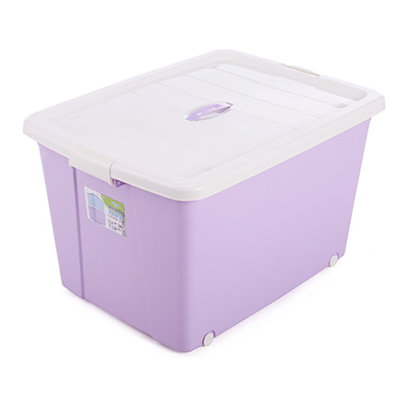 Large capacity color plastic storage box with wheels home storage & organization