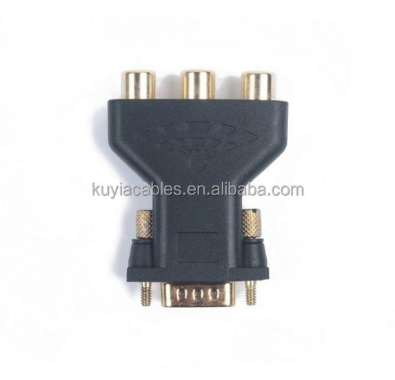 3 RCA RGB Component Video YPbPr To D-sub 15-Pin VGA Video Adapter