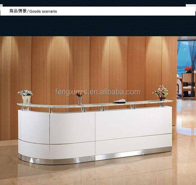 2015 New Arrival Wooden MDF Reception Counter White Desk for 2 Persion