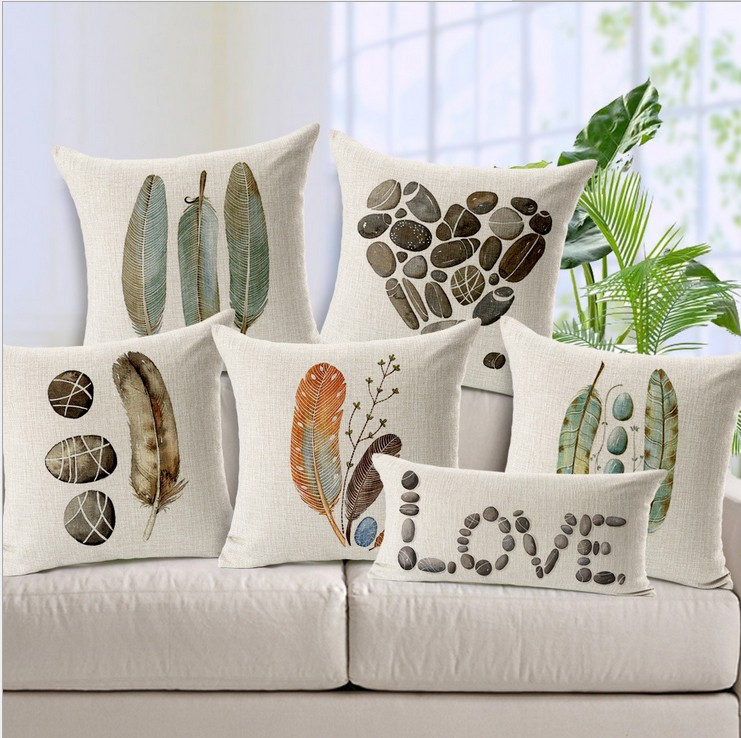 Leaf Cushion Feather Stone Decorative Pillowcase Sofa