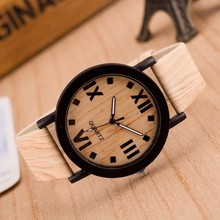 Good selling unisex wooden watch with leather strap quartz watch