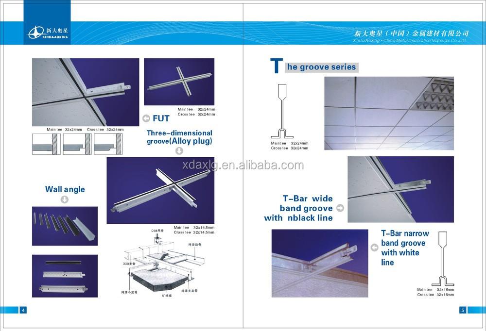 Width Edge Black Line Fut Ceiling T Grids T Bar T System