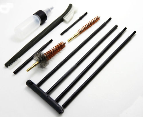 Funpowerland New10 Pcs Gun Rifle Shotgun Cleaning Brush Kit Fit Pouch For 22LR 223 556 Rifle Gun