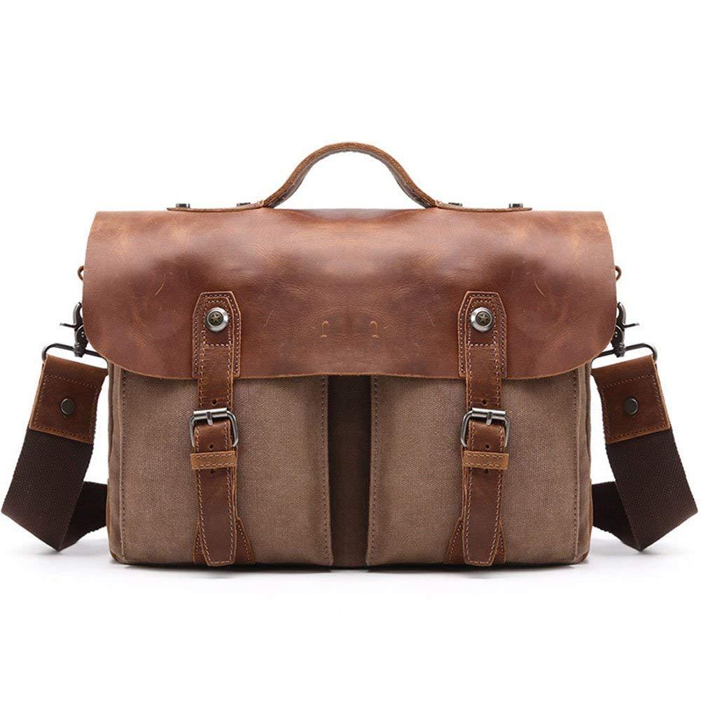c099bd1470 Get Quotations · DCRYWRX Men's Computer Laptop Bag Waterproof Canvas  Leather Retro Waxed Large Satchel Shoulder Bag Tablet Messenger