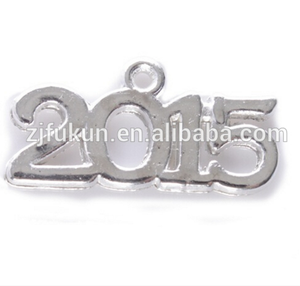 Gold / Silver Zinc Alloy 2015 Number Charms Special Day Or Lucky Year Digit Charm