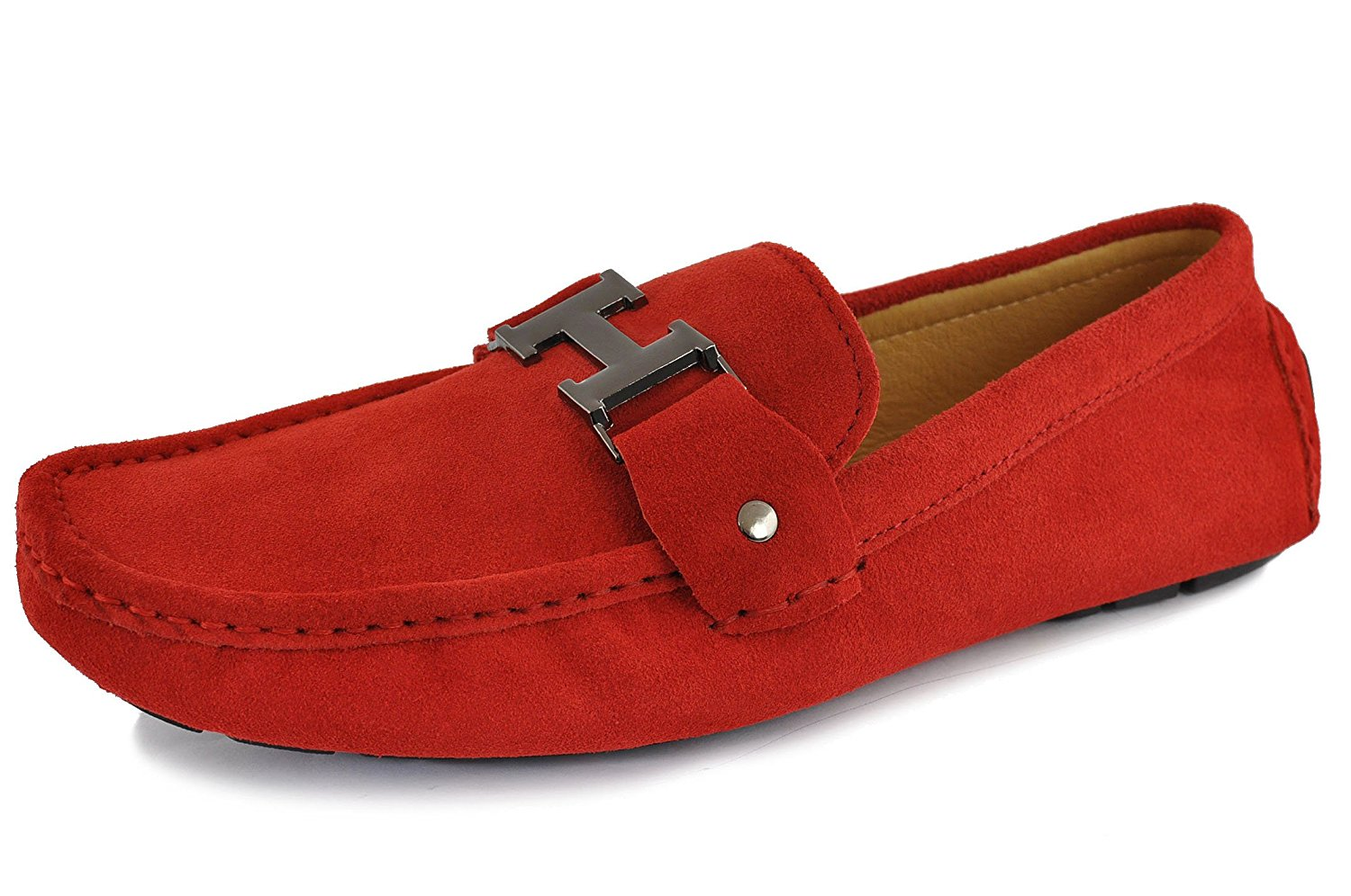 61ebdf568fb Get Quotations · Fulinken Men s Moccasin Red Slip On Silver Buckle Leather  Loafers Causal Mens Shoes Business Shoes Car