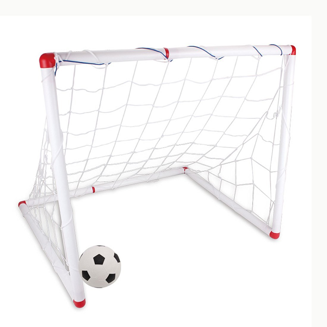 Soccer Goals, FINER Large Size 90cm DIY Youth Sports Soccer Goals with Soccer Ball and Pump Practice Scrimmage Game - White