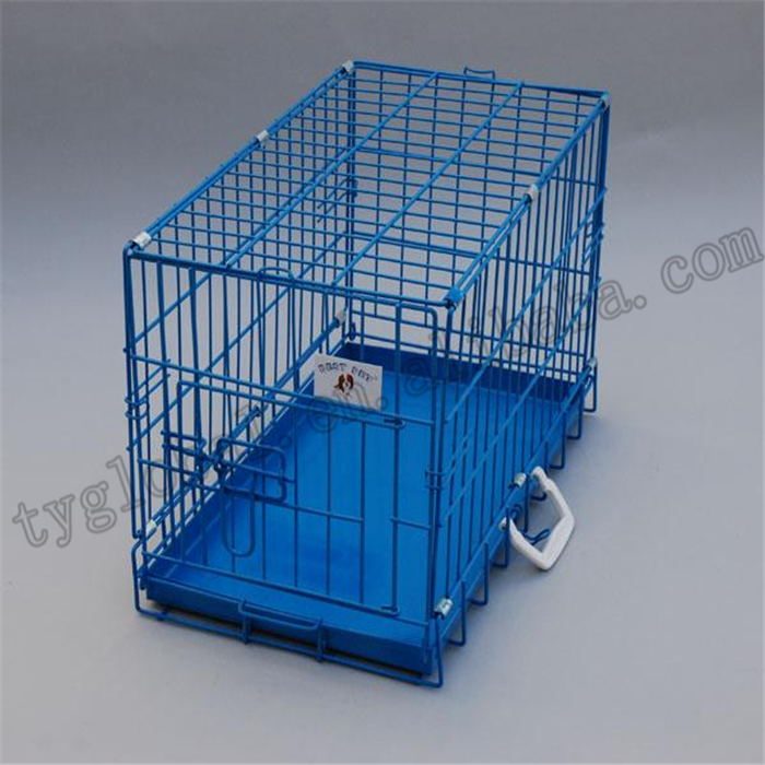 "20"" Blue Folding Suitcase Dog Crate Cat Cage with Metal Pan"