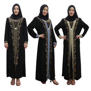 2018 Beautiful sequins stones design abaya for middle east ethnic region muslim women dress