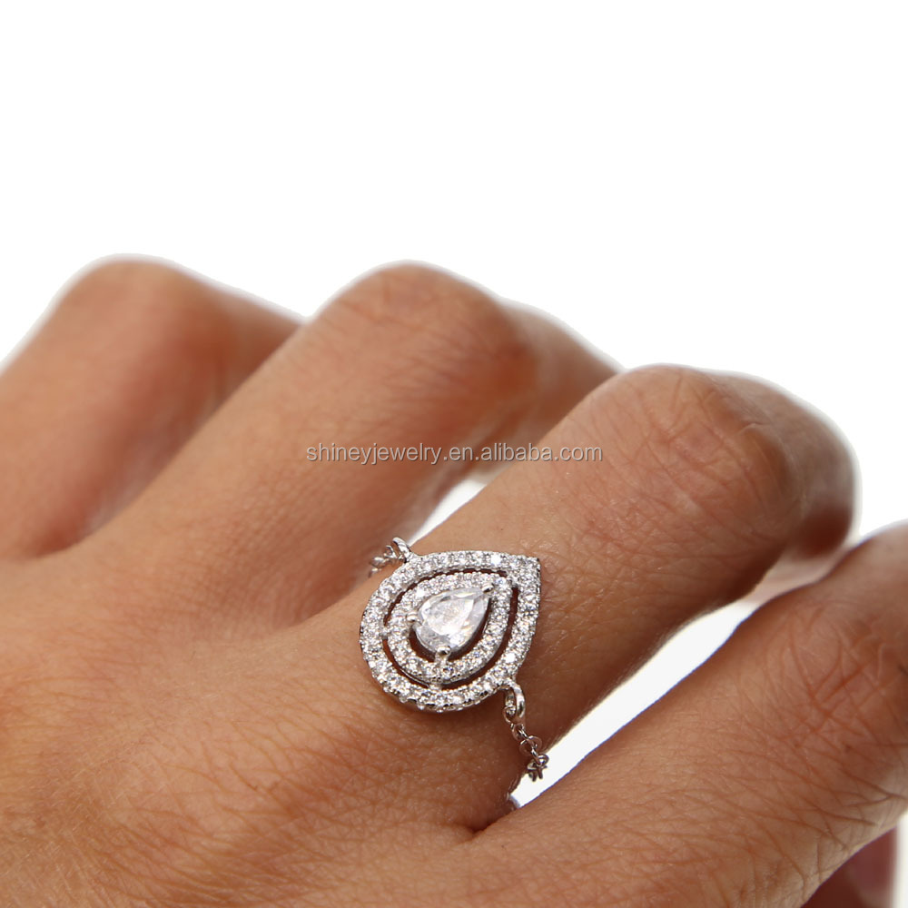 high quality rhodium plated 925 sterling silver personalized delicate chain rings cubic zirconia tear drop ring