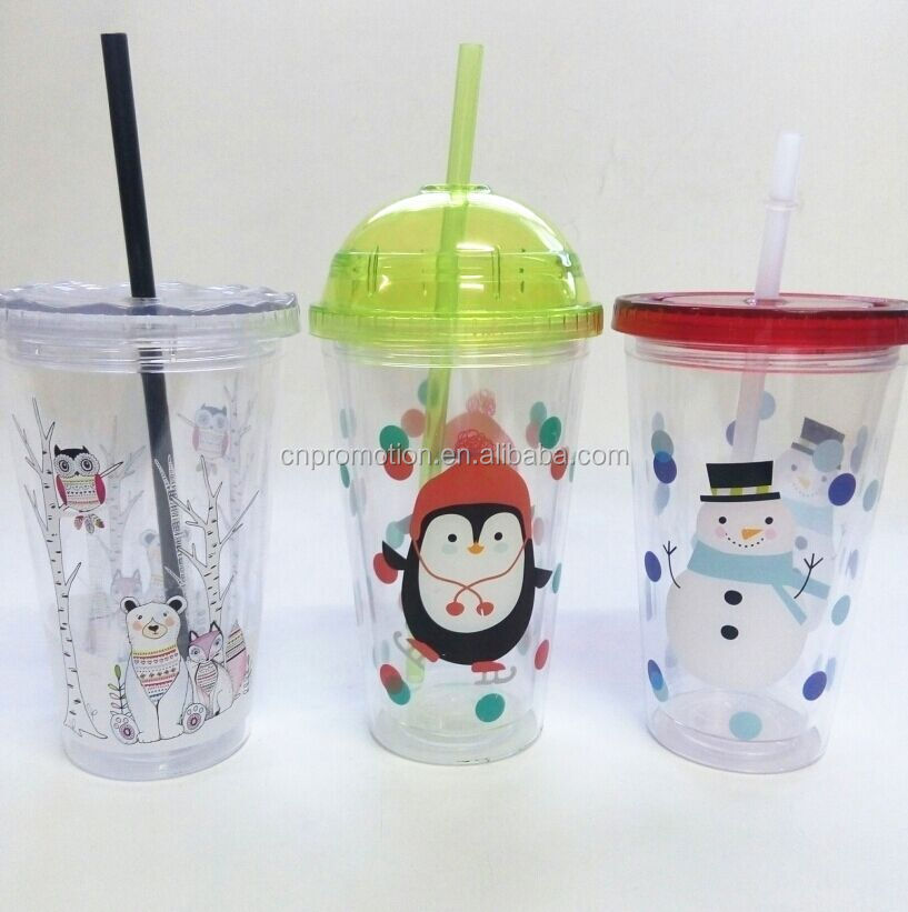 Promotional eco friendly custom christmas cartoon christmas plastic cup with diamond lid