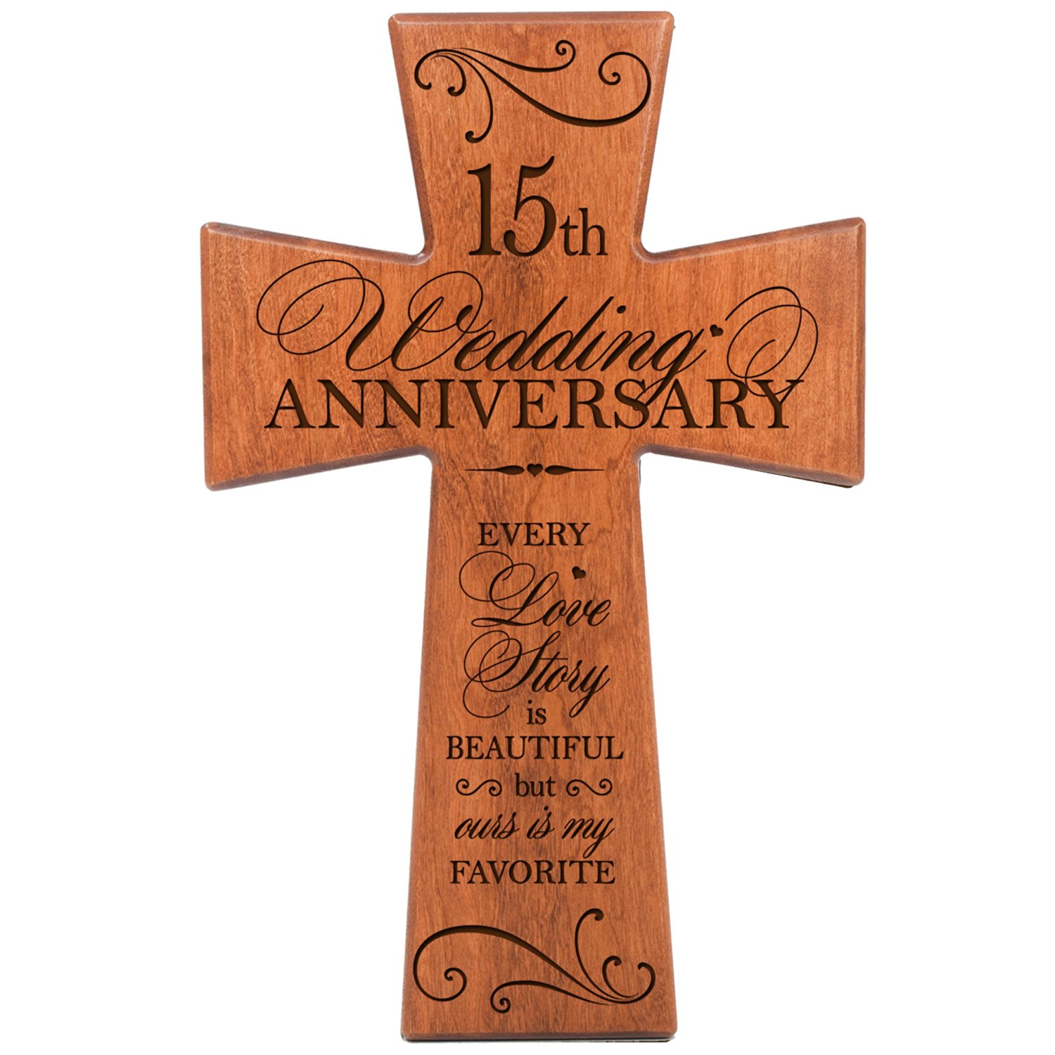 Buy 15th Wedding Anniversary Gifts For Him Cherry Wood Wall Cross