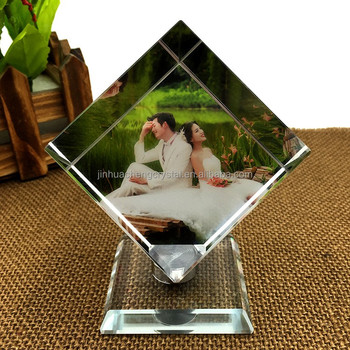 color printing 3D photo crystal cube for wedding favors