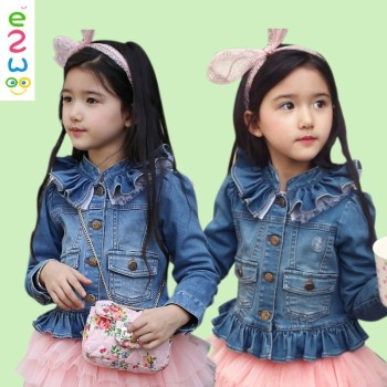 Hot Stock Elastic Quality Spring Children S Girls Jeans With Lace