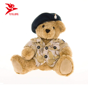 Custom Wearing a Blue Beret Army Teddy Bear